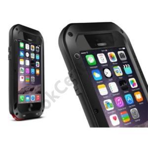 Apple iPhone 6 4.7 / Apple iPhone 6S 4.7 LOVE MEI Powerful defender telefonvédő gumi (ütésálló, fém keret + Gorilla Glass üveg) FEKETE
