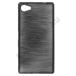 Sony Xperia Z5 Compact Telefonvédő gumi / szilikon (szálcsiszolt mintázat) FEKETE