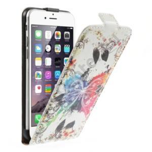 Apple iPhone 6 Plus 5.5`` Tok álló, bőr (FLIP, mágneses, bankkártya tartó, színes pillangóminta) FEHÉR