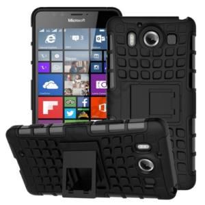 Microsoft Lumia 950 Defender műanyag telefonvédő (gumi / szilikon belső, kitámasztó, csúszásgátló) FEKETE