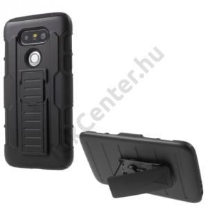 LG G5 (H850) Defender műanyag telefonvédő (közepesen ütésálló,gumi / szilikon belső,csúsztatható előlap,övcsipesz,kitámasztó) FEKETE