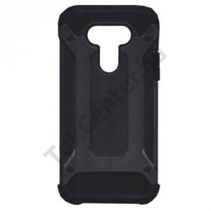 LG G5 (H850) Defender műanyag telefonvédő (közepesen ütésálló, gumi / szilikon belső, fémhatás) FEKETE