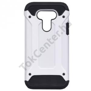 LG G5 (H850) Defender műanyag telefonvédő (közepesen ütésálló, gumi / szilikon belső, fémhatás) FEHÉR
