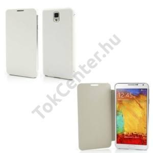 Samsung Galaxy Note 3. (SM-N9000) Műanyag telefonvédő (bőr flip, oldalra nyíló) FEHÉR