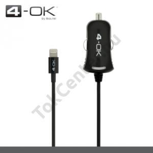 4-OK szivargyújtó töltő/autós töltő  (Lightning 8pin, 5V / 1000mA, iOS7 támogatás, MFi Apple engedélyes) FEKETE