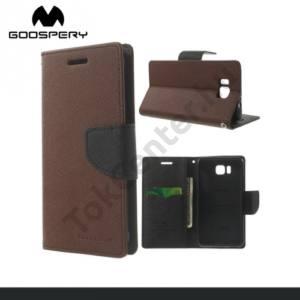 Samsung Galaxy Alpha (SM-G850) MERCURY Fancy Diary tok álló, bőr (FLIP, mágneses, oldalra nyíló, bankkártya tartó, asztali tartó funkció) BARNA