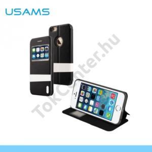 Apple iPhone 6 4.7`` USAMS LANGE tok álló, bőr (FLIP, oldalra nyíló, asztali tartó funkció, szilikon tartó, S-view cover) FEKETE