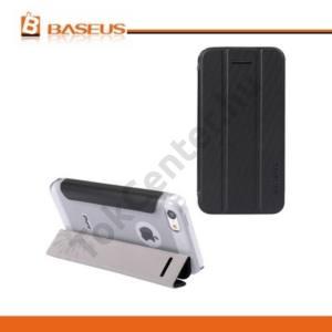 Apple iPhone 5C BASEUS műanyag telefonvédő (bőr flip, TRIFOLD asztali tartó funkció) FEKETE