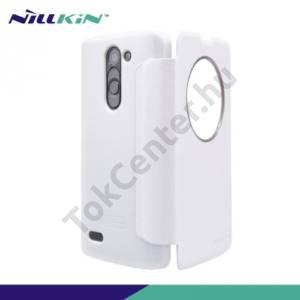 LG L80+ L Bello (D331)  NILLKIN SPARKLE műanyag telefonvédő (mikroszálas bőr flip, oldalra nyíló, hívószámkijelzés, View Window) FEHÉR
