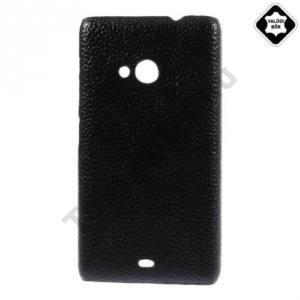 Microsoft Lumia 535 Műanyag telefonvédő (valódi bőrbevonat) FEKETE