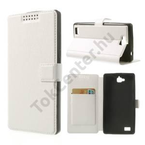 Huawei Honor 3C Tok álló, bőr (FLIP, mágneses, oldalra nyíló, bankkártya  tartó, asztali tartó funkció) FEHÉR