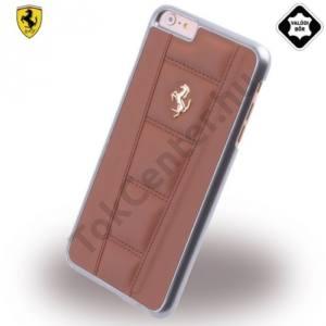 Apple iPhone 6 Plus 5.5`` Ferrari 458 műanyag telefonvédő (valódi bőr hátlap, metál logó) BARNA