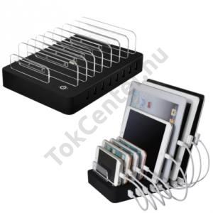 Asztali töltő állomás (8 készülék egyidejű töltésére, 8 x USB aljzat, 5V / 2400mAh, kábel nélkül ) FEKETE