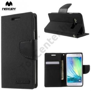 Samsung Galaxy A3 (SM-A300F) MERCURY Canvas Diary tok álló (FLIP, mágneses, oldalra nyíló, asztali tartó funkció, textil hatás) FEKETE