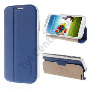 Samsung Galaxy S IV. (GT-I9500) MOSHIKA JANE JADE tok álló, bőr (FLIP, oldalra nyíló, asztali tartó funkció) SÖTÉTKÉK