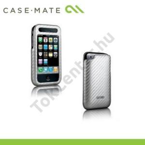 Apple iPhone 2G CASE-MATE álló bőrtok, pouch, karbon mintával (képernyővédő fólia, tisztítókendő) EZÜST
