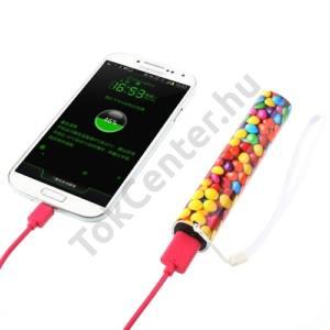 Hordozható vésztöltő (belső 3000 mAh akku, USB aljzat, microUSB kábel, csuklópánt, cukorka minta) SZÍNES