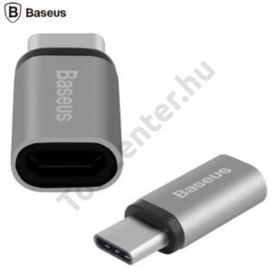 BASEUS adapter (USB Type-C - microUSB, töltéshez, adatátvitelhez) SZÜRKE