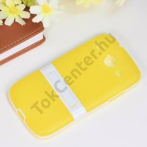 Samsung Galaxy Core (GT-I8260) Műanyag telefonvédő (gumi / szilikon betét, kitámasztó) SÁRGA/FEHÉR