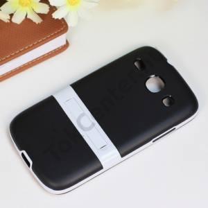 Samsung Galaxy Core (GT-I8260) Műanyag telefonvédő (gumi / szilikon betét, kitámasztó) FEKETE/FEHÉR
