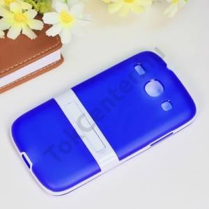 Samsung Galaxy Core (GT-I8260) Műanyag telefonvédő (gumi / szilikon betét, kitámasztó) KÉK/FEHÉR