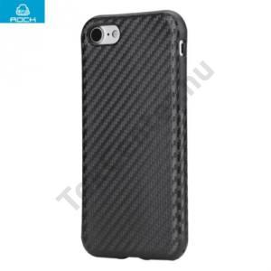 Apple iPhone 7 ROCK telefonvédő gumi / szilikon (bőr hátlap, karbon minta) FEKETE