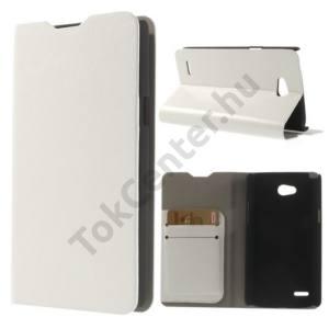 LG L80 (D380) Tok álló, bőr (FLIP, oldalra nyíló, bankkártya  tartó, asztali tartó funkció) FEHÉR
