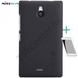 Nokia X2 Dual SIM (2014) NILLKIN SUPER FROSTED műanyag telefonvédő (gumírozott, érdes felület, képernyővédő fólia, tisztítókendő) FEKETE