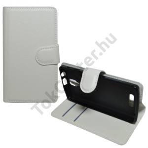 Lenovo A1000 Tok álló, bőr (FLIP, oldalra nyíló, asztali tartó funkció) FEHÉR