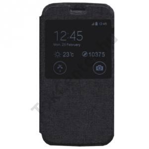 Samsung Galaxy A5 (SM-A500F) Tok álló, bőr (FLIP, oldalra nyíló, S-View Cover) FEKETE