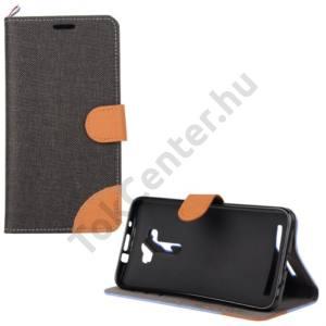 Asus Zenfone 2 Laser (ZE550KL) Tok álló, textil (FLIP, mágneses, oldalra nyíló, asztali tartó funkció) FEKETE/BARNA