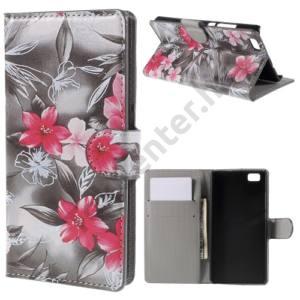 Huawei P8 lite Tok álló, bőr (FLIP, oldalra nyíló, asztali tartó funkció, rózsaszín virágminta) SZÜRKE