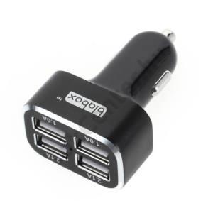 Szivargyújtó töltő/autós töltő 4 x USB aljzat (2x 5V / 1000mA, 2x 5V / 2100mAh, 120 cm USB hosszabbító kábel) FEKETE