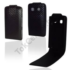 Nokia 500  Tok álló, bőr (FLIP, mágneses, karbon minta) FEKETE