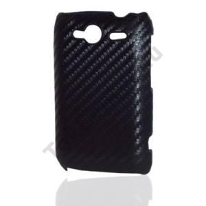HTC Wildfire S (A510e) Műanyag telefonvédő (karbon minta) FEKETE