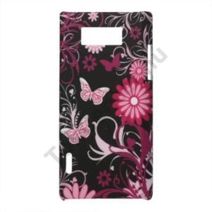 LG Optimus L7 (P700) Műanyag telefonvédő (gumírozott, pillangó, virágmintás) FEKETE