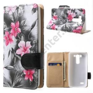 LG G3 S (D722) Tok álló, bőr (FLIP, mágneses, oldalra nyíló, bankkártya tartó, asztali tartó funkció, rózsaszín virágminta) SZÜRKE