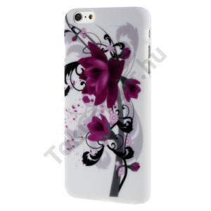 Apple iPhone 6 Plus 5.5`` Műanyag telefonvédő (lótuszvirág minta) FEHÉR