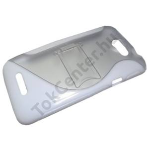 HTC One X (S720e) Műanyag telefonvédő (gumi / szilikon betét, kitámasztó, S-line) FEHÉR