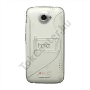 HTC One X (S720e) Műanyag telefonvédő (gumi / szilikon betét, kitámasztó, S-line) ÁTLÁTSZÓ