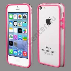 Apple iPhone 5C Műanyag telefonvédő szilikon keret (BUMPER) ÁTLÁTSZÓ/RÓZSASZÍN