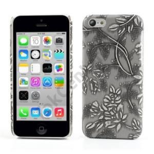 Apple iPhone 5C Műanyag telefonvédő (bőrhátlap, virágmintás) SZÜRKE