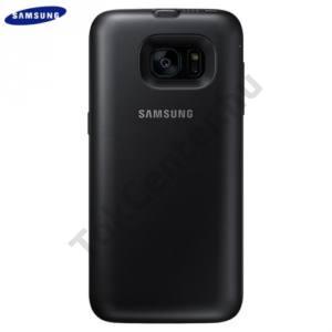 Samsung Galaxy S7 EDGE (SM-G935) Műanyag telefonvédő (gumi / szilikon belső, 3100mAh belső akku, QI Wireless vezeték nélküli töltés) FEKETE