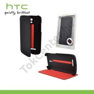 HTC Desire 500 Műanyag telefonvédő (flip, asztali tartó funkció) FEKETE/PIROS