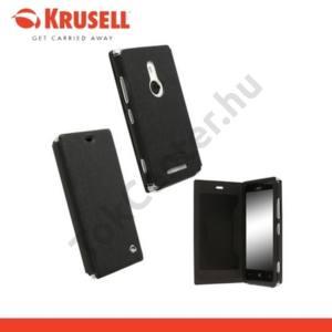 Nokia Lumia 925 KRUSELL FlipCover MALMÖ, műanyag telefonvédő (oldalra nyíló bőr flip, bankkárytatartóval) FEKETE
