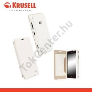 Nokia Lumia 520 KRUSELL FlipCover MALMÖ, műanyag telefonvédő (oldalra nyíló bőr flip, bankkárytatartóval) FEHÉR