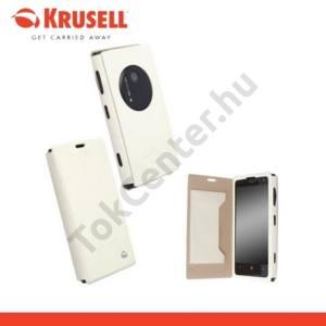 Nokia Lumia 1020 KRUSELL FlipCover MALMÖ, műanyag telefonvédő (oldalra nyíló bőr flip, bankkárytatartóval) FEHÉR