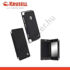 Nokia Lumia 520 KRUSELL FlipCover MALMÖ, műanyag telefonvédő (oldalra nyíló bőr flip, bankkárytatartóval) FEKETE