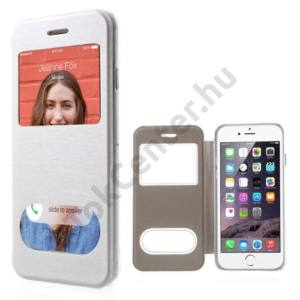 Apple iPhone 6 4.7`` Műanyag telefonvédő (bőr flip, oldalra nyíló, átlátszó hátlap, hívásfelvételhez kivágás, S-View Cover) FEHÉR