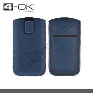 4-OK tok álló, bőr, POUCH (kihúzható tépőzáras, bankkártya tartó, hullám minta, iPhone 6 4.7'' méret) KÉK